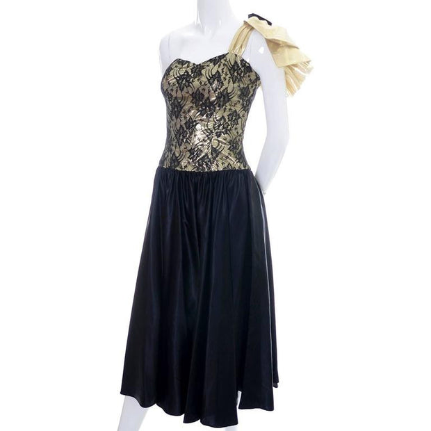 1980's gold lurex and black lace vintage dress
