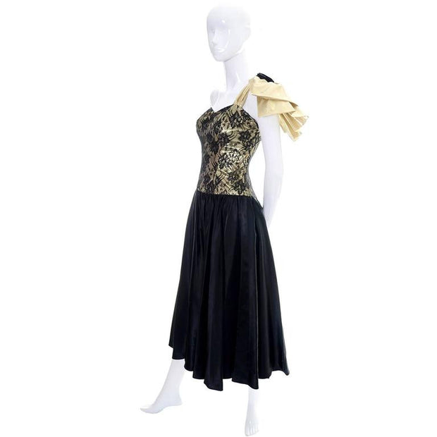 Small vintage dress gold lurex and black lace from 1980