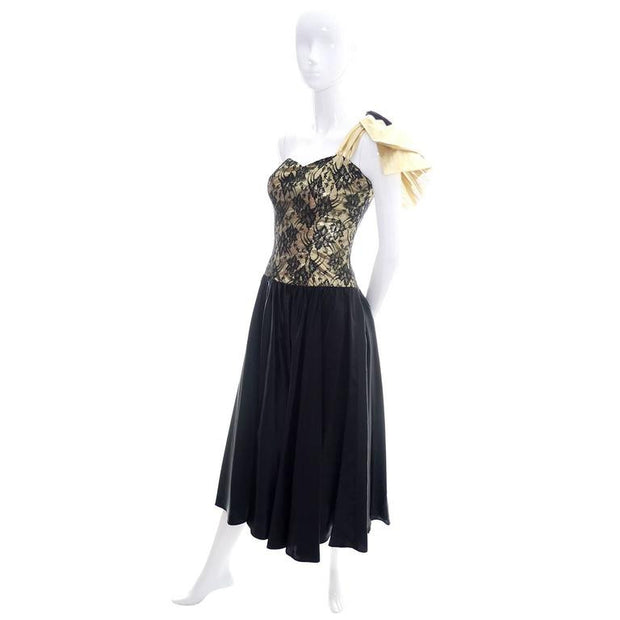 1980s Gold Lurex Lace Vintage Dress Size 2 Size 4