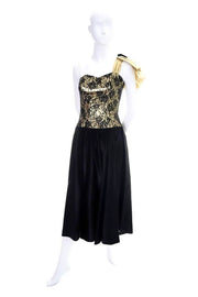 1980's Elaines of Edmonds one shoulder vintage dress gold and black
