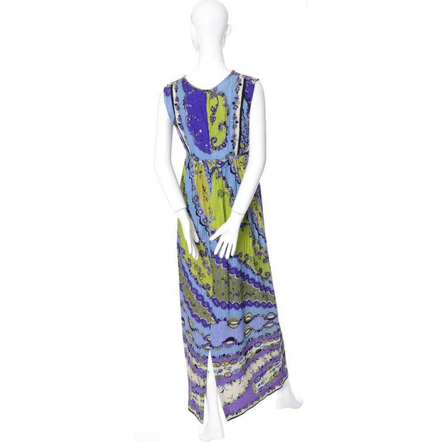 1960's sleeveless Emilio Pucci Pop Art Vintage Crinkle Silk Maxi Dress