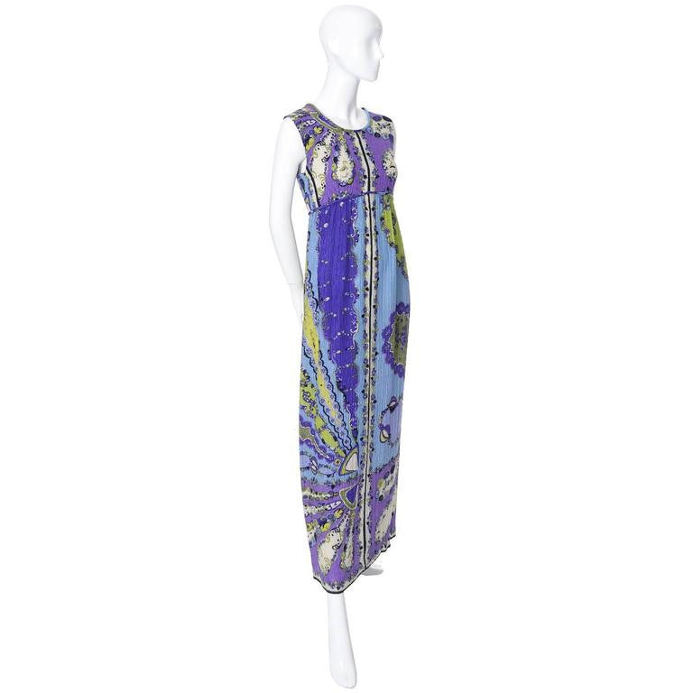 1960's Emilio Pucci Pop Art Vintage Crinkle Silk Dress in purple, blue, cream and blue.