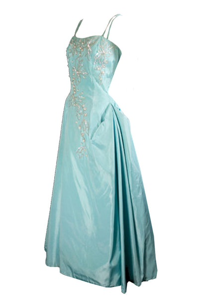 Emma Domb Vintage Beaded Blue Satin Evening Gown - Dressing Vintage