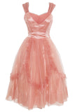 Peach satin Emma Domb 1950's dress