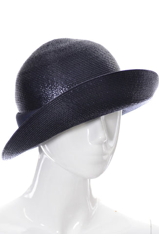 Emme New York Navy Blue Straw Vintage 1960s Hat Bonwit Teller MINT - Dressing Vintage