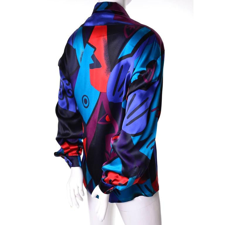 80's vintage abstract silk blouse by Escada. Can be worn as a button down or mock turtleneck