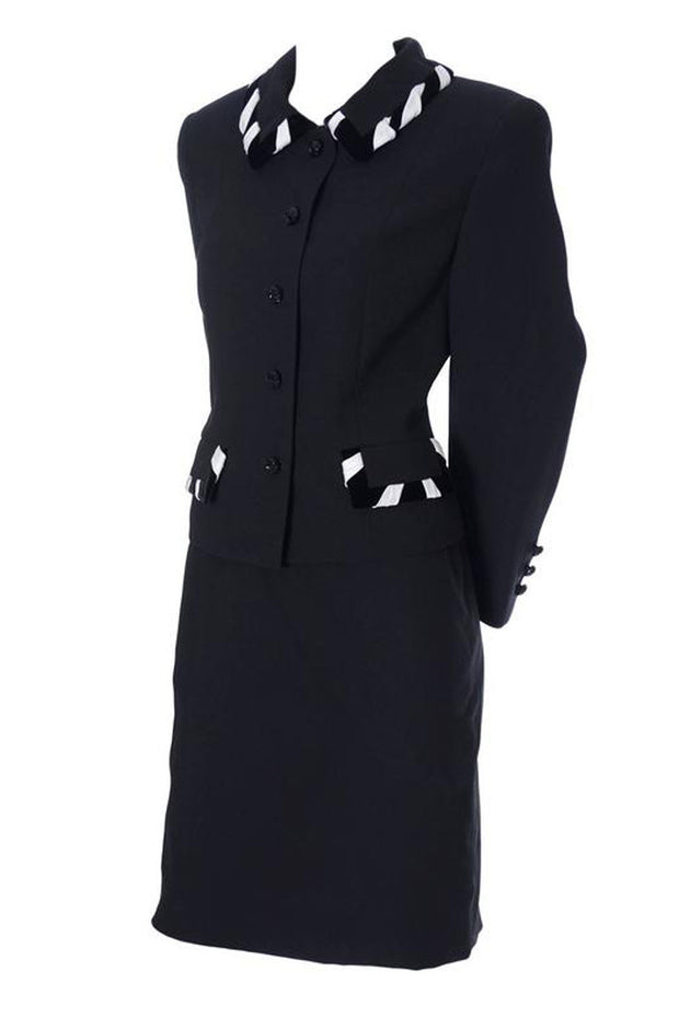 Escada Couture 1990's black wool skirt suit
