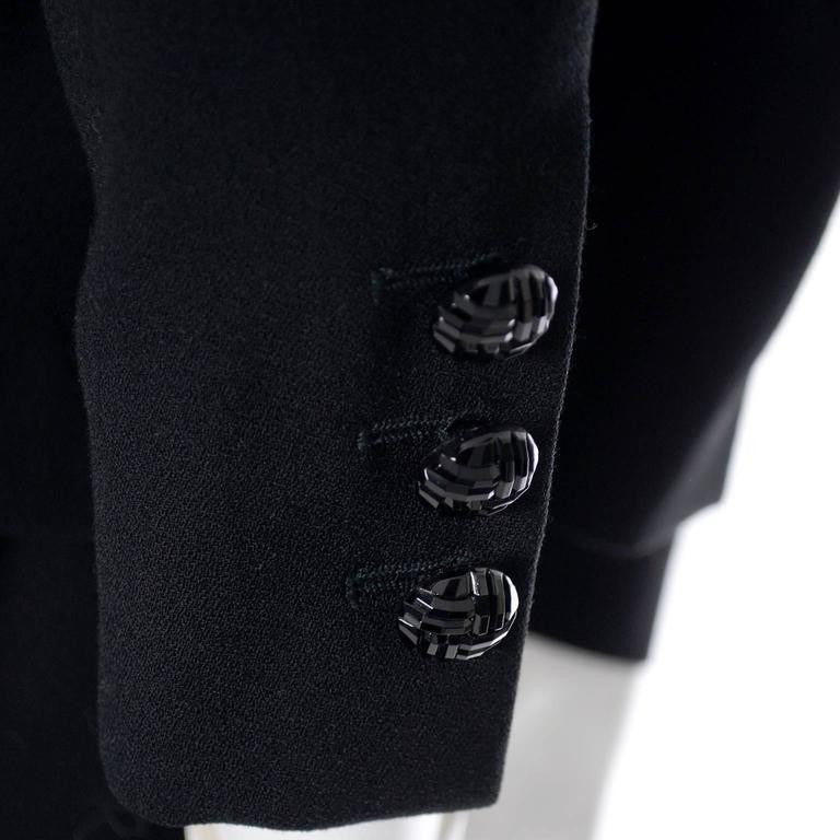 Detail of a 1990's Escada Couture black wool suit