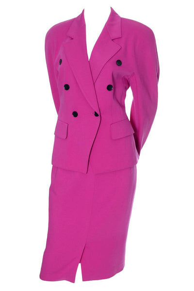 Escada hot pink wool suit 1980's