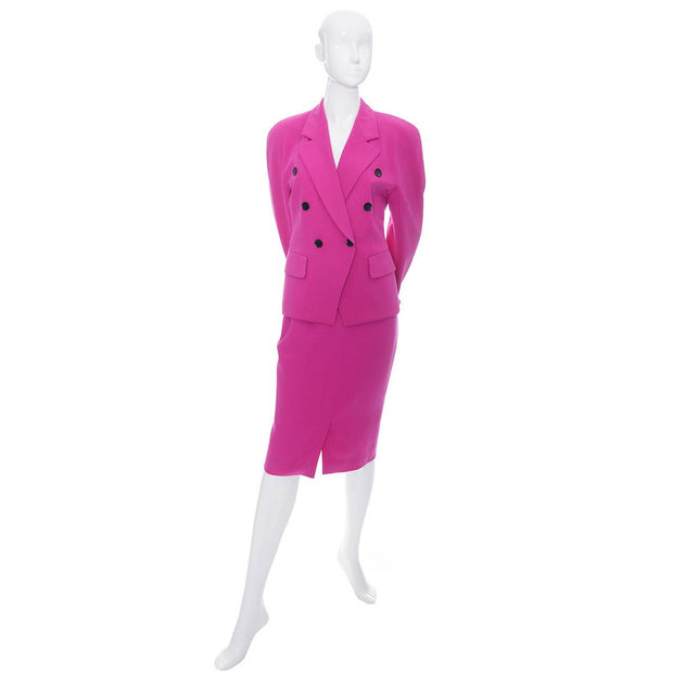 Pink wool 1980's skirt suit by Escada