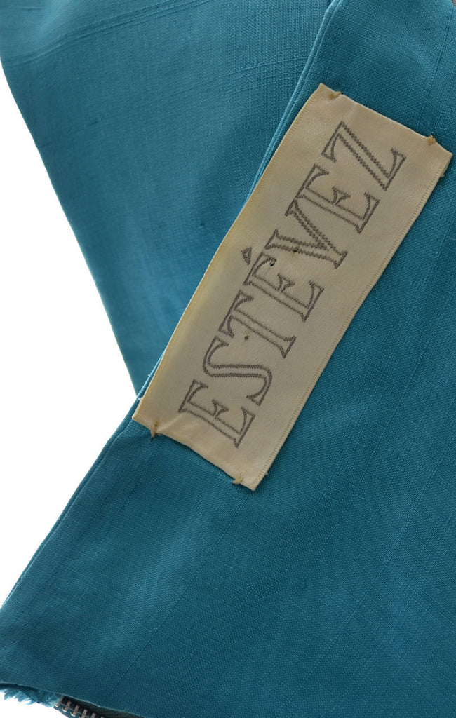 Estevez 1960s blue silk vintage dress
