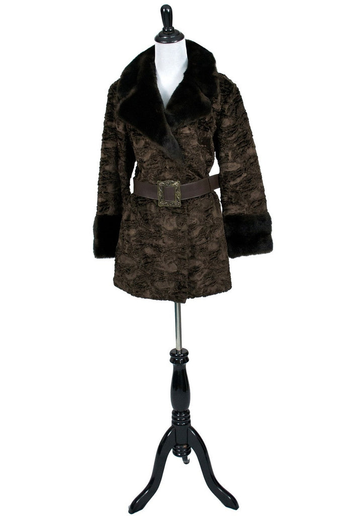 faux lambswool vintage coat with faux fur trim
