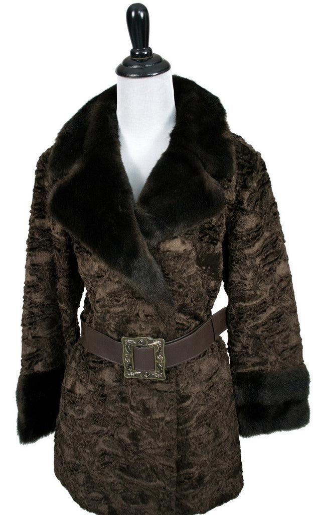 Vintage faux fur curly lambswool coat