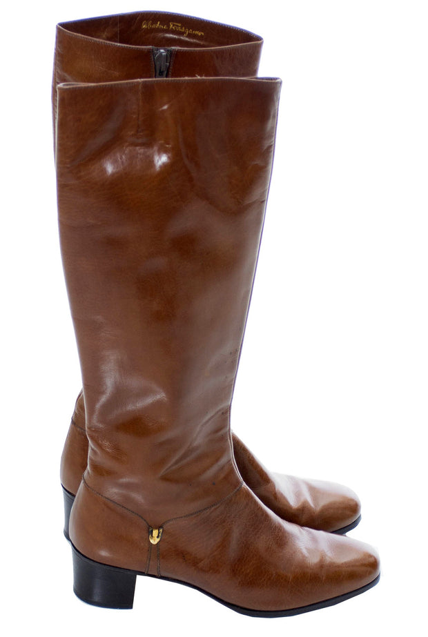 1970s Vintage Ferragamo Brown Leather Boots 8.5 AA - Dressing Vintage