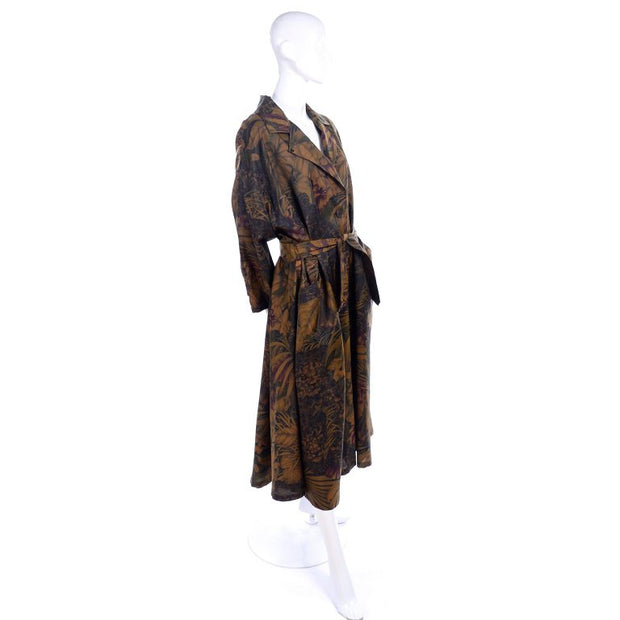 Vintage Salvatore Ferragamo Fall Leaf Swing Raincoat