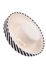 Frank Olive Vintage Hat w Black & White Stripe Upturned Brim