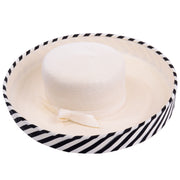 Frank Olive Vintage Hat w Black & White Stripe Upturned Brim Spring Summer