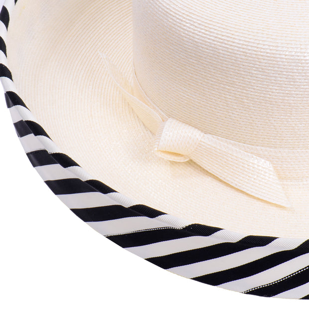 Summer Frank Olive Vintage Hat w Black & White Stripe Upturned Brim