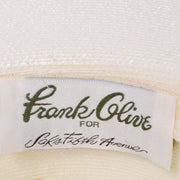 Frank Olive Vintage Hat w Black & White Stripe Upturned Brim for Saks Fifth Avenue