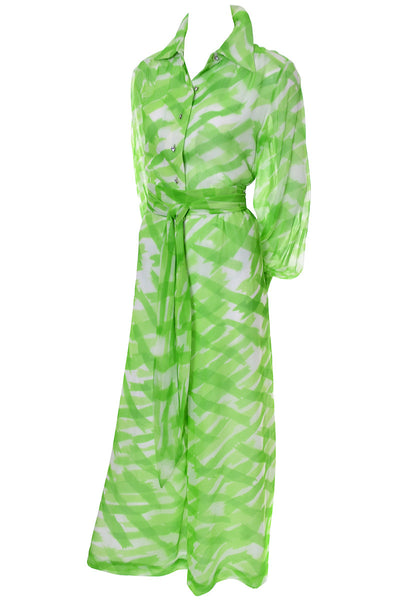 1960s Fred Perlberg Originals Vintage Palazzo Pants Outfit As New Green Silk Chiffon - Dressing Vintage