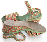 Vintage French room Raffia Wedges shoes sandals