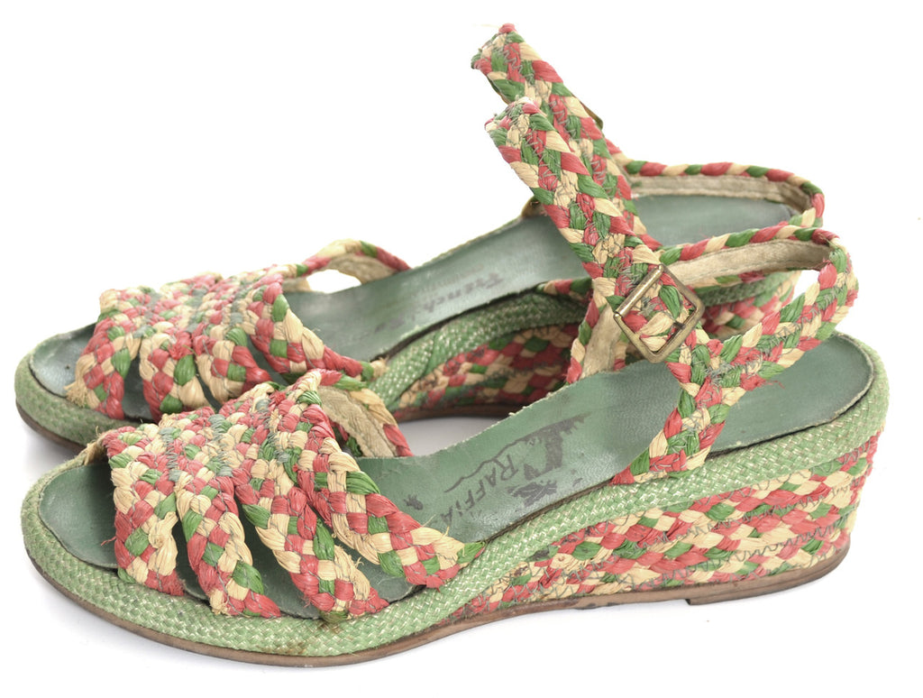 Vintage raffia shoes French room wedges