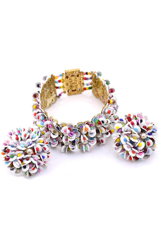 1950s Vintage Necklace Multi Strand and Earrings Demi Parure