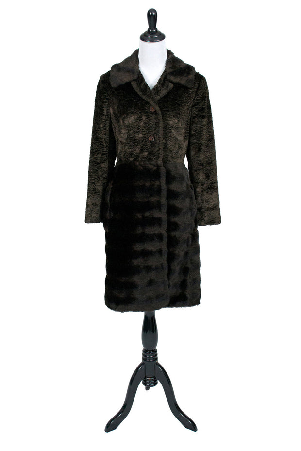 Furrage fur faux fur brown vintage coat