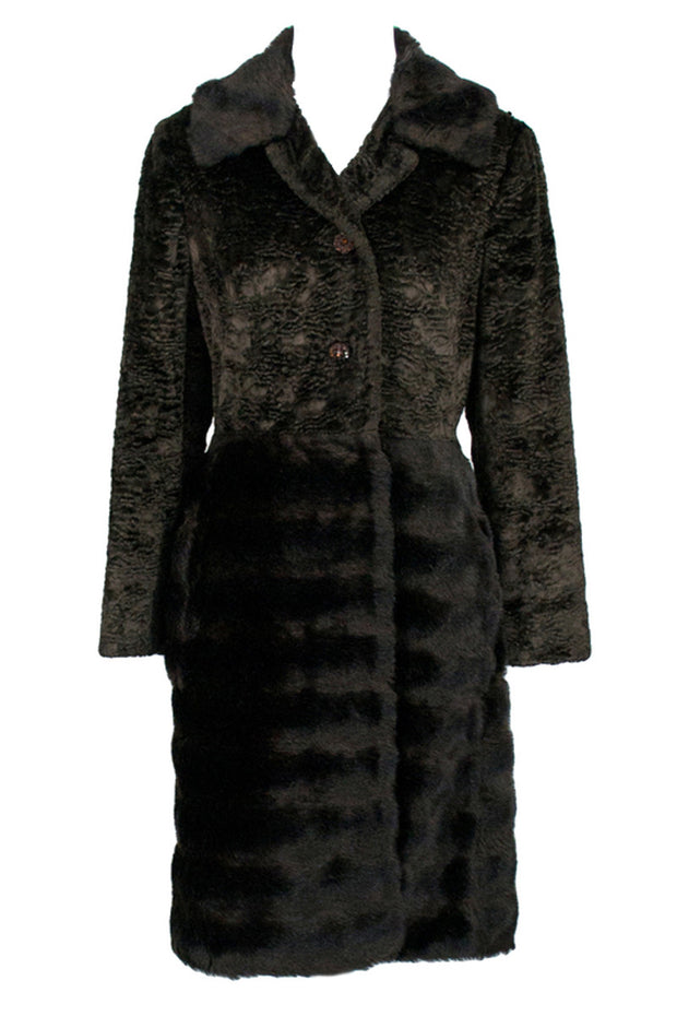 Vintage Brown Vegan Faux Lambswool and Fur Coat - Dressing Vintage