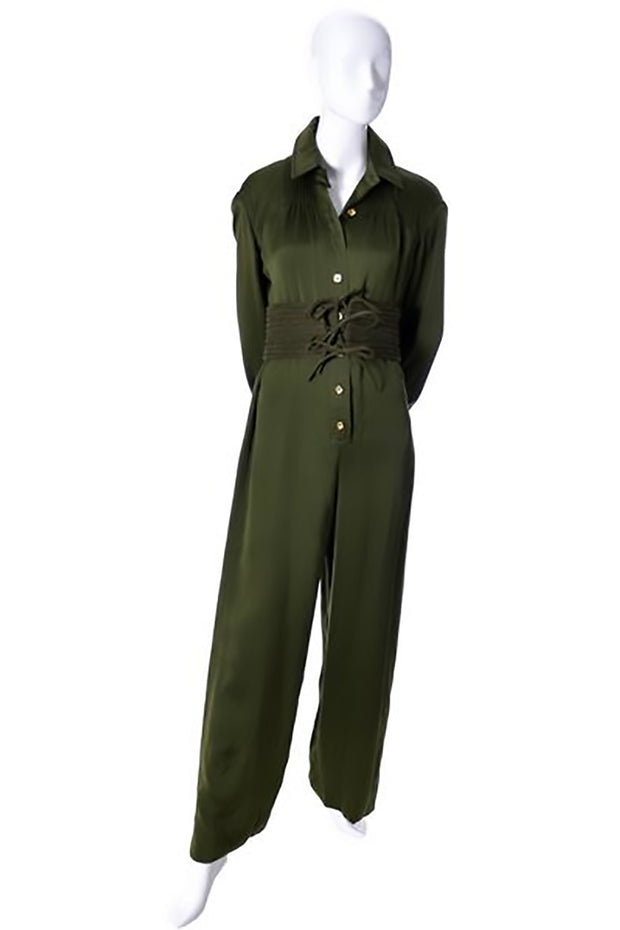 Galanos army green vintage jumpsuit w/ belt at dressingvintage.com