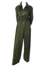 Galanos army green vintage jumpsuit at dressingvintage.com