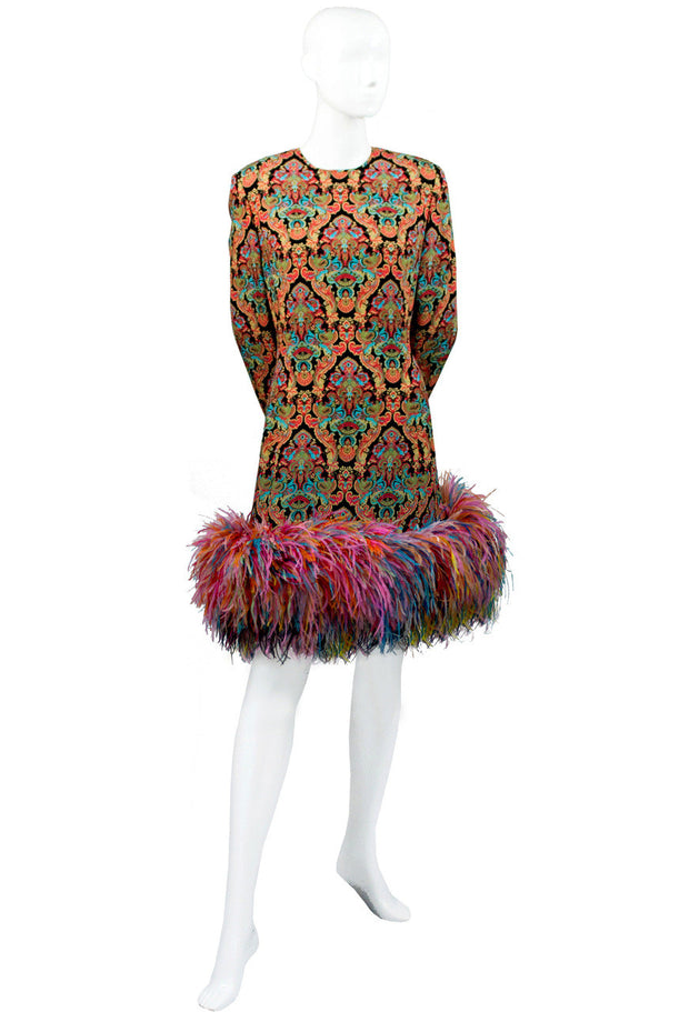 Galanos multi-colored vintage dress with ostrich feathers - Dressing Vintage