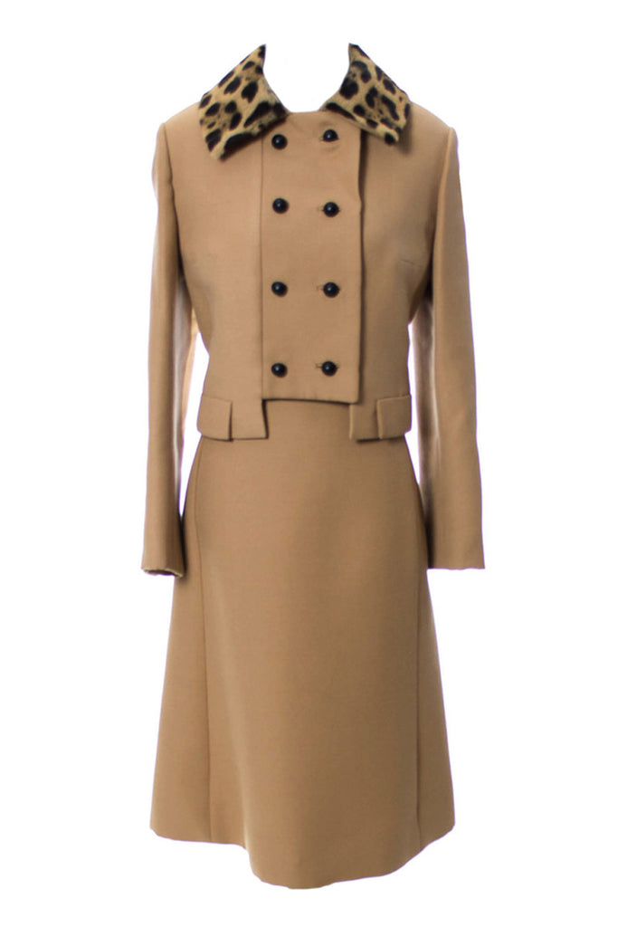 Camel wool 1960s dress and jacket leopard trim