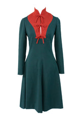 Geoffrey Beene Green and Red Holiday Dress