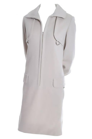 Pale Taupe Wool Vintage Geoffrey Beene Zip Up Dress