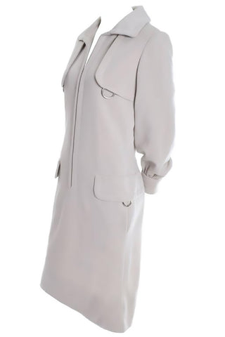 1990s Donna Karan Vintage Ivory Racer Back Dress and Coat Suit Ensemble