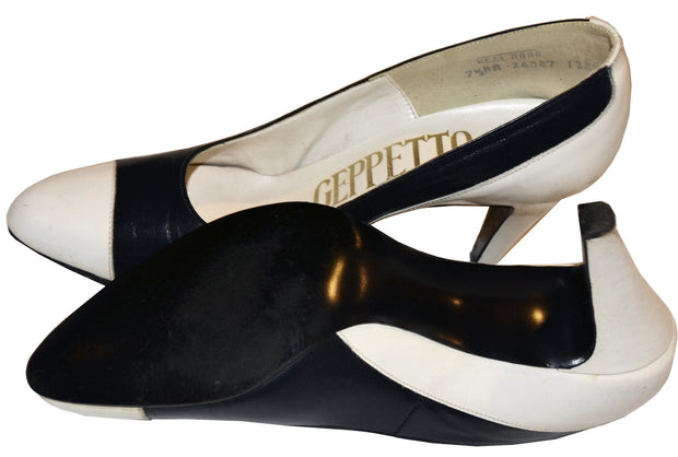 7.5 AA Geppetto Vintage Black & White Leather Heels with the Box - Dressing Vintage