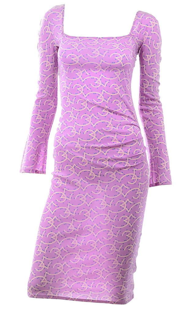 1998 Gianni Versace Couture Vintage Lavender Silk Dress Spring Pink