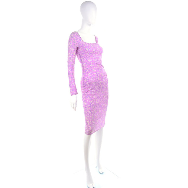 1998 Gianni Versace Couture Vintage Lavender Silk Runway Dress