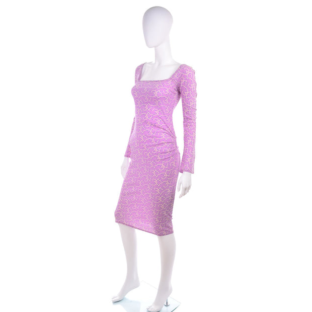 Runway 1998 Gianni Versace Couture Vintage Lavender Silk Dress