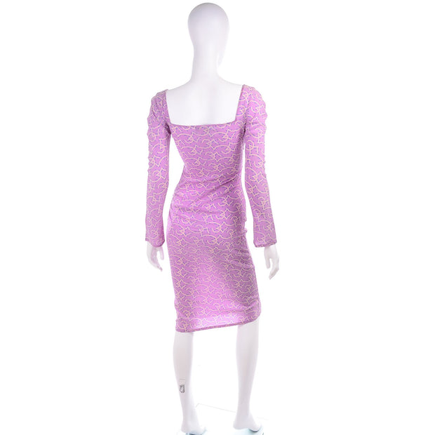 1998 Gianni Versace Couture Vintage Lavender Silk Dress 1990s