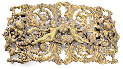 Brass Repousse Vintage Sash Belt Buckle Ornate - Dressing Vintage