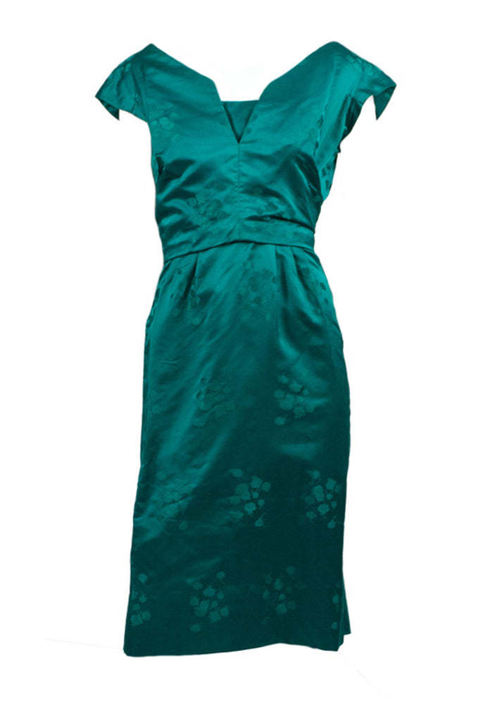 1960s green satin party dress