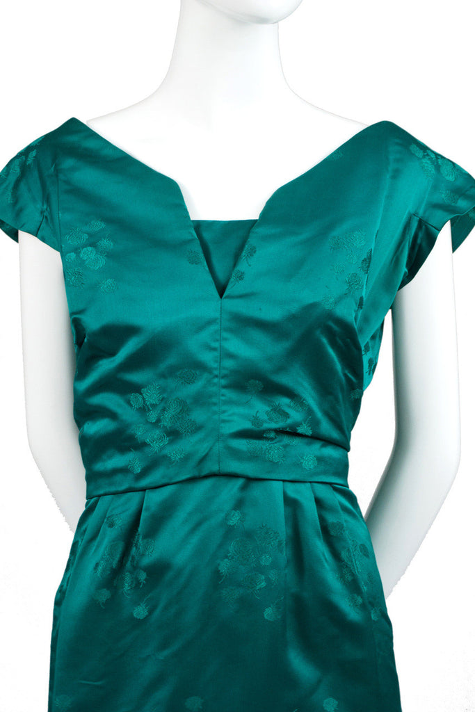 Green satin vintage dress