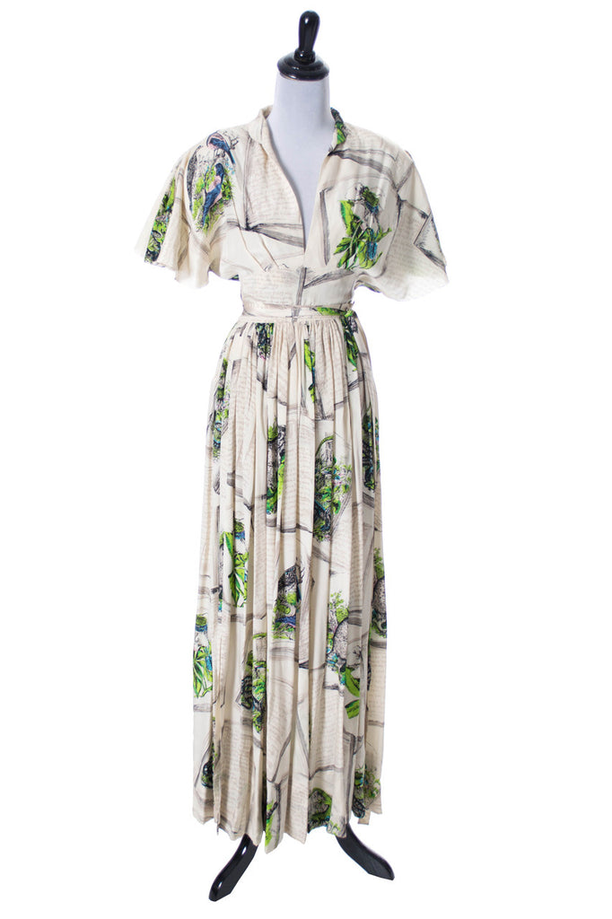 Gilbert Adrian vintage silk printed dress
