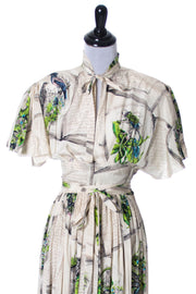 A Very Rare Gilbert Adrian Vintage Silk Novelty Print 1940s Dress SOLD - Dressing Vintage