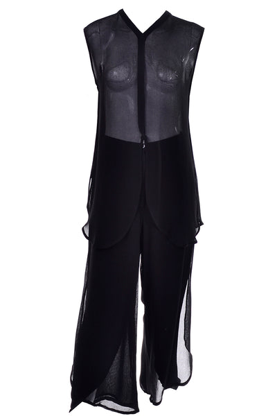 Giorgio Armani Black Sheer Crepe Evening Pants Tunic Ensemble - Dressing Vintage