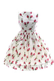 Vintage 1950s childs party dress girls roses dress