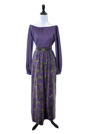1970's Givenchy Purple Velvet Maxi Skirt and Top