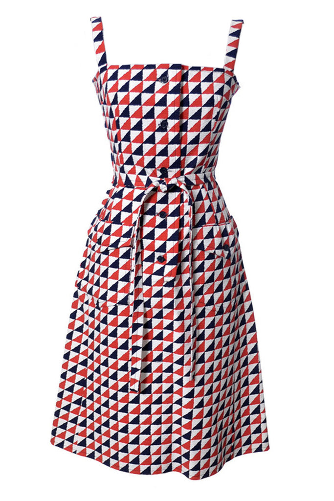 Vintage Givenchy Paris red white and blue dress
